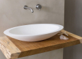 Cocoon-washbowl-on-wooden-shelf-stainless-steel-mixer