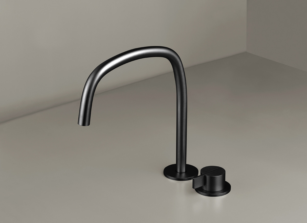 COCOON PB SET11 Deck mounted basin mixer with swivel spout - gunmetal black