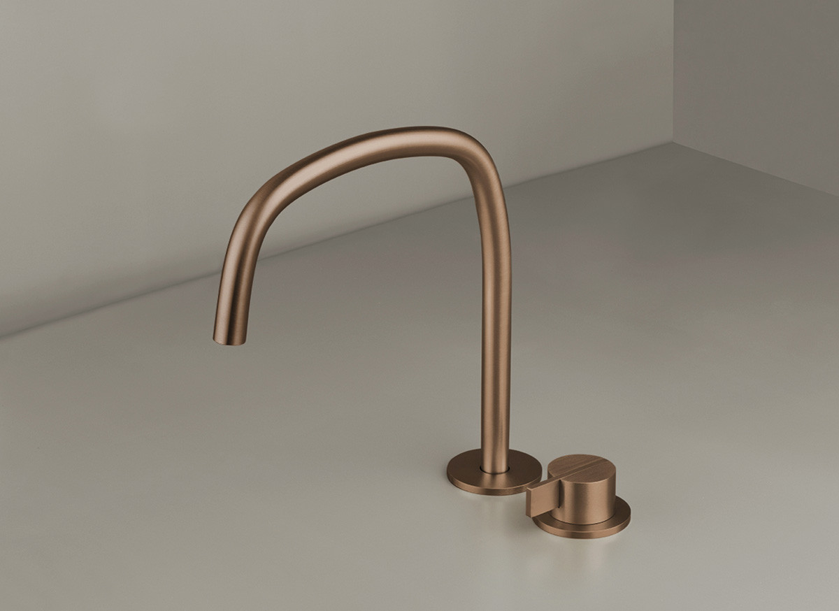 COCOON PB SET11 Deck mounted basin mixer with swivel spout - raw copper