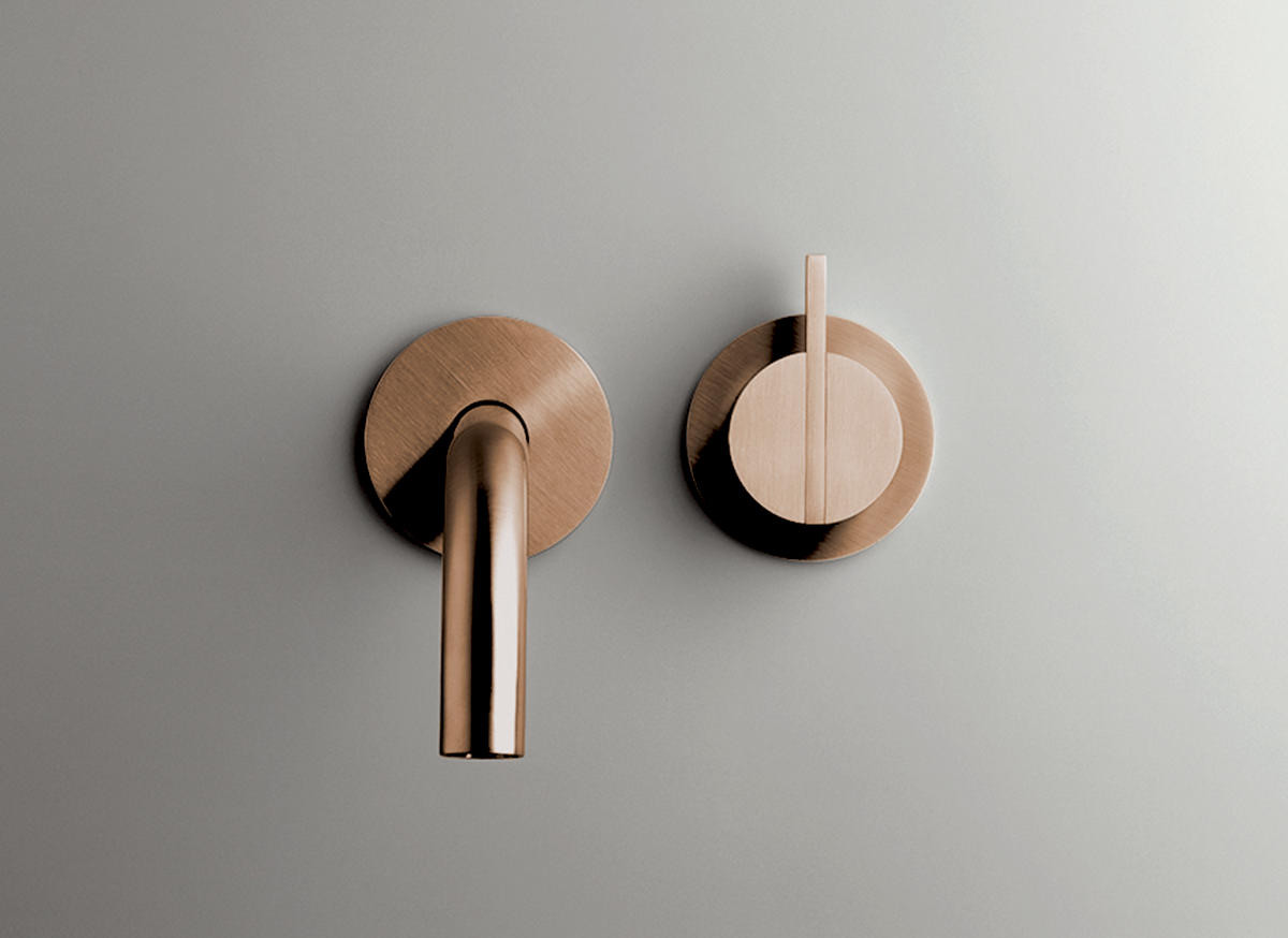 COCOON PB SET01 Wall mounted basin mixer with spout - raw copper