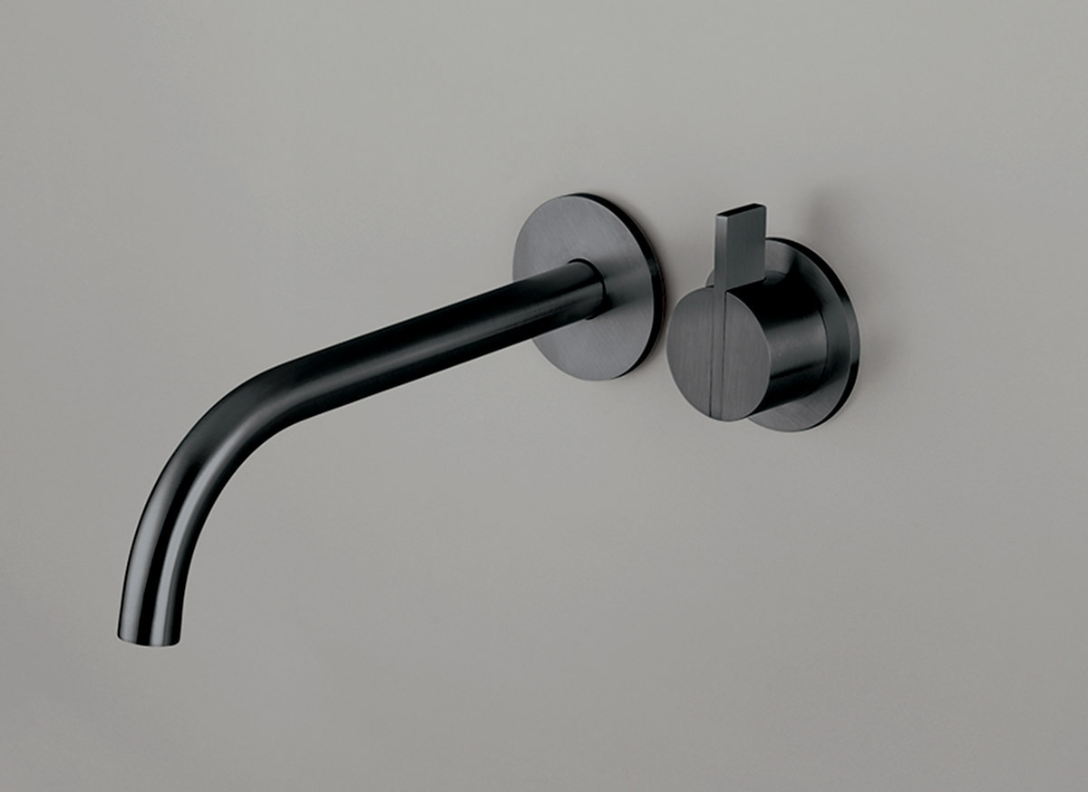 COCOON PB SET01 Wall mounted basin mixer with spout - gunmetal black