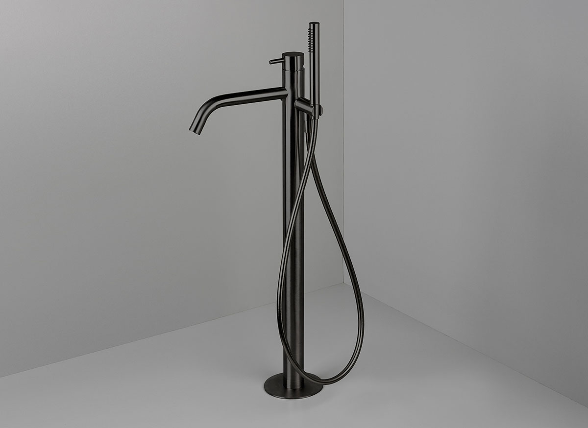 Cocoon mono 40 floor mounted bath mixer with hand shower for Bathroom tap designs