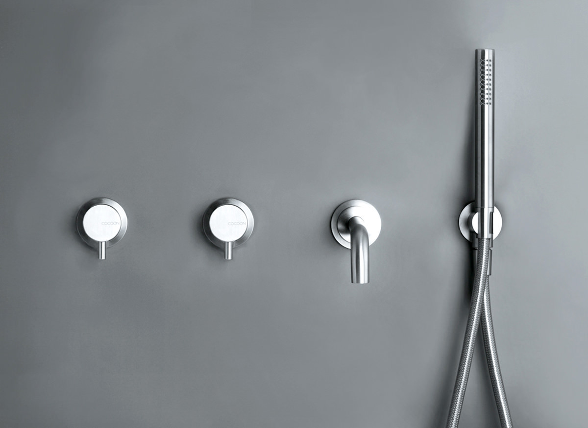 Bathroom tap designs -  Cocoon Minimal Wall Mounted Stainless Bath Taps
