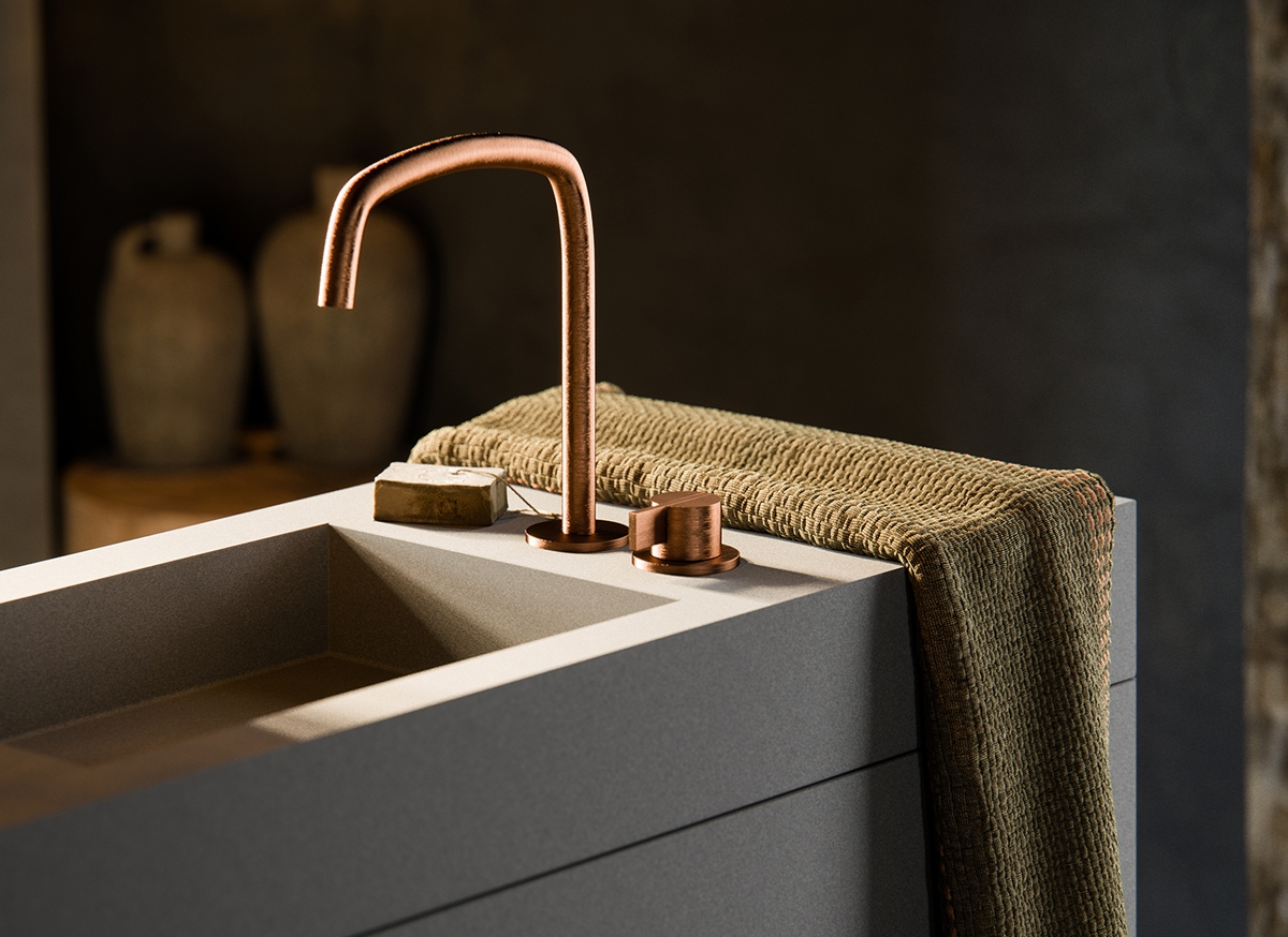 COCOON PB SET11 Deck mounted basin mixer with swivel spout (COPPER ...