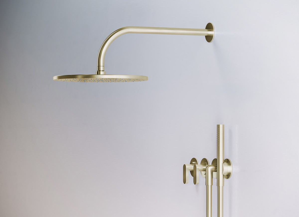 Jp Set22therm 1 Complete Thermostatic Rain Shower Set Brushed Gold